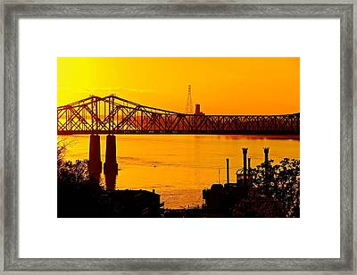 The Mississippi River Bridge At Natchez At Sunset.  Framed Print