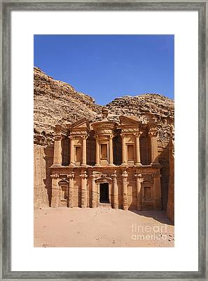 The Monastery Sculpted Out Of The Rock At Petra In Jordan Framed Print by Robert Preston