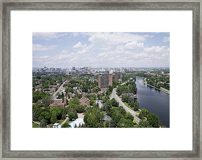 The Rideau Canal And Downtown, Ottawa Framed Print