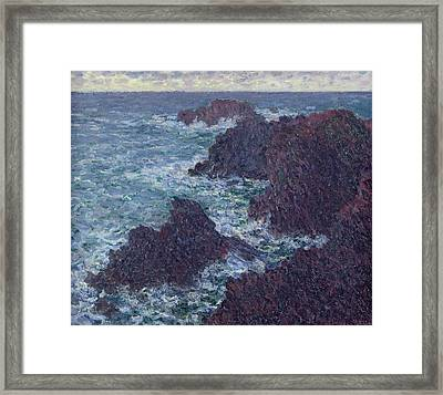 The Rocks At Belle-ile Framed Print
