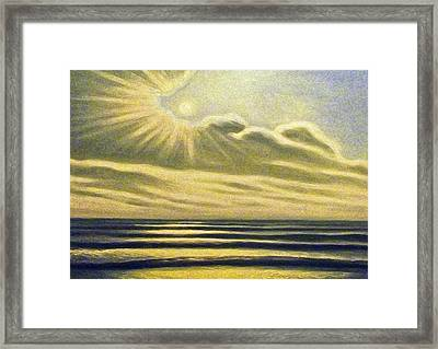 The Sea Clouds And Sun Framed Print