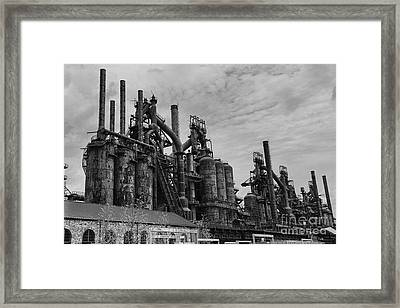 The Steel Mill In Black And White Framed Print by Paul Ward