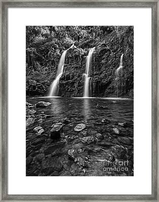 The Stunningly Beautiful Upper Waikani Falls Or Three Bears Foun Framed Print by Jamie Pham