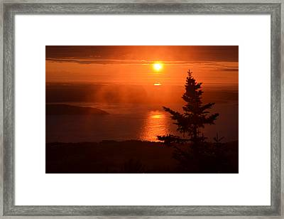 The Sunrise From Cadillac Mountain In Acadia National Park Framed Print by Toby McGuire