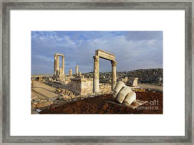The Temple Of Hercules And Sculpture Of A Hand In The Citadel Amman Jordan Framed Print by Robert Preston