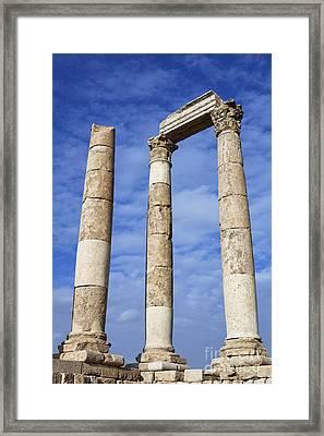 The Temple Of Hercules In The Citadel Amman Jordan Framed Print by Robert Preston