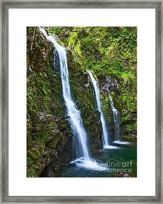 The Three Bears - The Stunningly Beautiful Upper Waikani Falls Framed Print by Jamie Pham