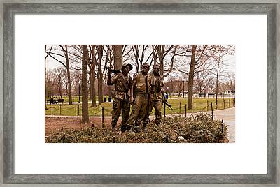 The Three Soldiers Bronze Statues Framed Print by Panoramic Images