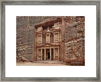 the treasury Nabataean ancient town Petra Framed Print by Juergen Ritterbach