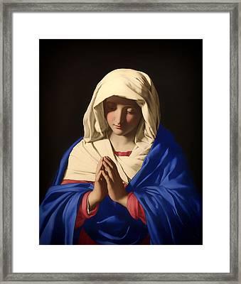 The Virgin In Prayer Framed Print by Mountain Dreams