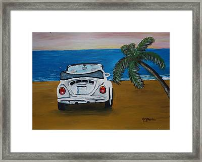 The Vw Bug Series - The White Volkswagen Bug At The Beach Framed Print by M Bleichner