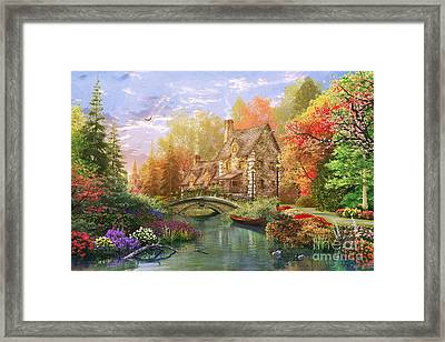 The Water Lake Cottage Framed Print
