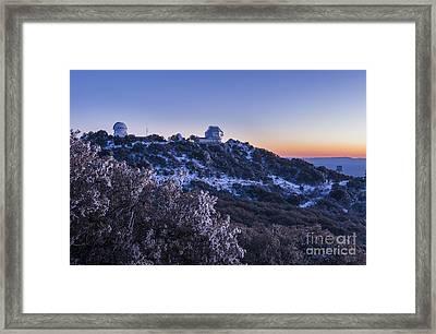 The Wiyn Observatory On Top Of Snow Framed Print by John Davis