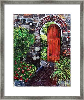 Framed Print featuring the painting The Wooden Door by Lucia Grilletto