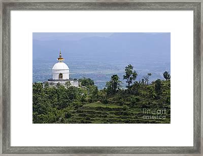 The World Peace Pagoda Pokhara Framed Print by Robert Preston
