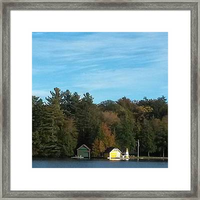 The Yellow Boathouse On Old Forge Pond Framed Print
