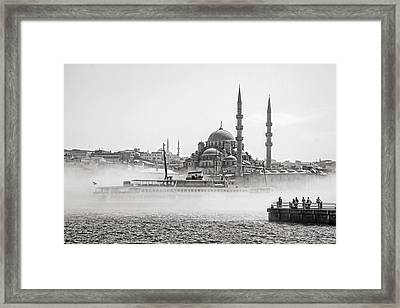 The Yeni Mosque In Fog Framed Print