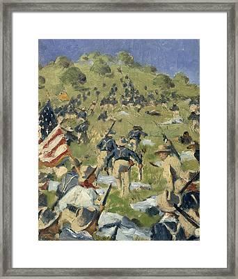 Theodore Roosevelt Taking The Saint Juan Heights Framed Print by Vasili Vasilievich Vereshchagin