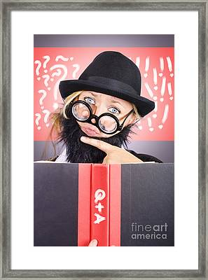 Thinking Male Professor With Questions And Answers Framed Print by Jorgo Photography - Wall Art Gallery