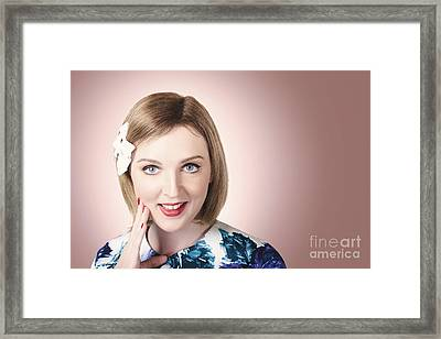 Thinking Pin Up Lady With Short Hairstyle Framed Print by Jorgo Photography - Wall Art Gallery