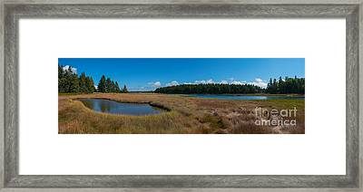 Thompson Island In Maine Panorama Framed Print