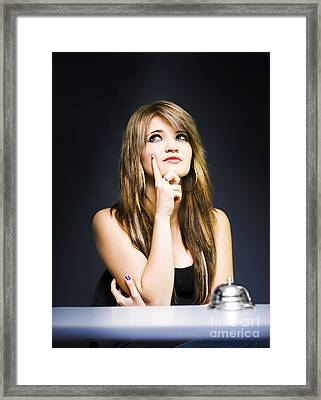 Thoughtful Business Woman Thinking At Office Desk Framed Print