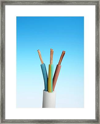 Three-core Electrical Cable Framed Print by Science Photo Library