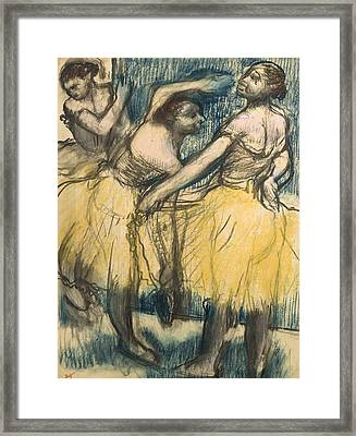 Three Dancers In Yellow Skirts Framed Print