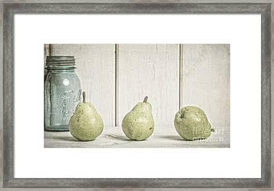Three Pear Framed Print by Edward Fielding