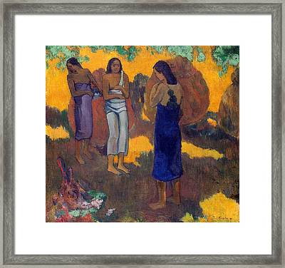 Three Tahitian Women Against A Yellow Background Framed Print by Paul Gauguin