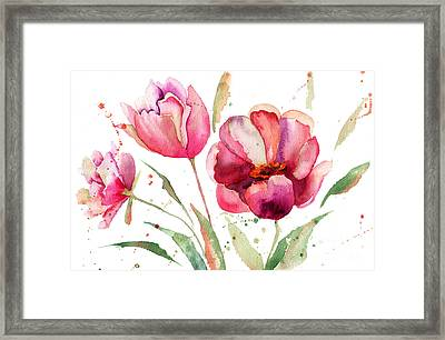 Three Tulips Flowers  Framed Print