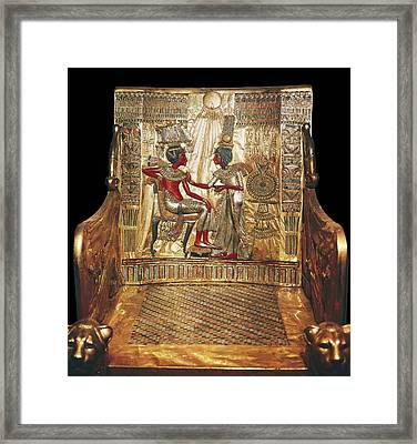 Throne Of Tutankhamun. Ca. 1340 Bc Framed Print by Everett
