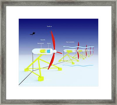 Tidal Turbine Energy Framed Print by Science Photo Library