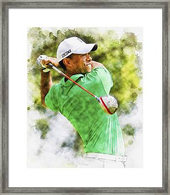 Tiger Woods Hits A Drive  Framed Print