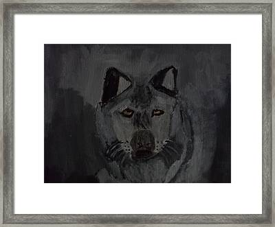 Timber Wolf Acrylic Painting Framed Print by William Sahir House