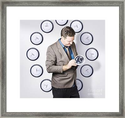 Time Management Business Man Looking At Clock Framed Print by Jorgo Photography - Wall Art Gallery