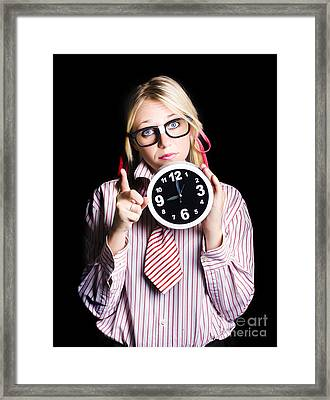 Time Management Business Person Signalling Time Up Framed Print by Jorgo Photography - Wall Art Gallery