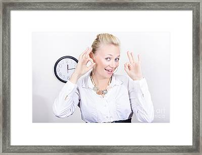 Time Management Woman Showing Ok When On Schedule Framed Print by Jorgo Photography - Wall Art Gallery
