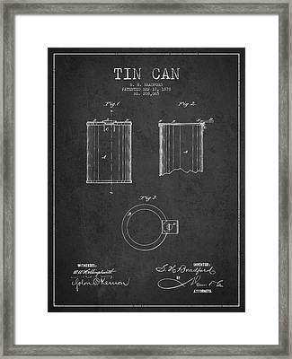 Tin Can Patent Drawing From 1878 Framed Print by Aged Pixel