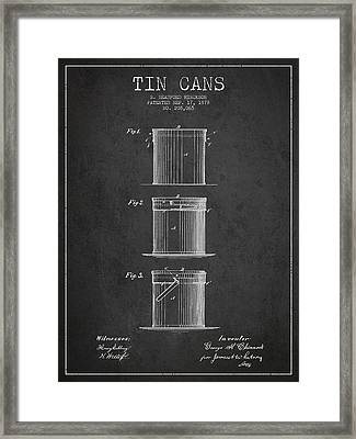 Tin Cans Patent Drawing From 1878 Framed Print by Aged Pixel