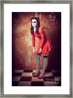 Tired Human Wind-up Doll With Sugar Skull Make Up Framed Print by Jorgo Photography - Wall Art Gallery