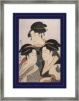 Tôji San Bijin = Three Beauties Of The Present Day Framed Print by Artokoloro