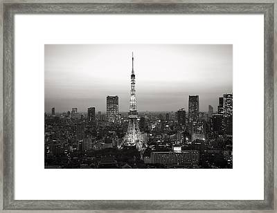 Tokyo Tower At Night Framed Print