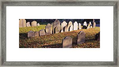 Tombstones In A Cemetery, Copps Hill Framed Print by Panoramic Images