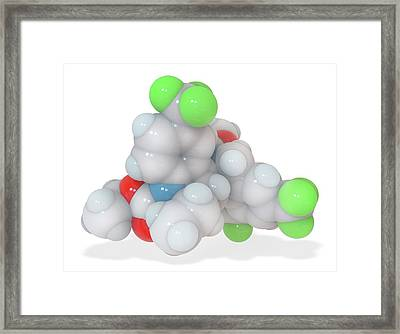 Torcetrapib Cholesterol-lowering Drug Framed Print by Ramon Andrade 3dciencia