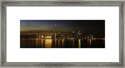 Toronto Evening Sky Line Panorama Framed Print by Peter v Quenter