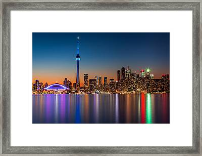 Toronto Skyline At Dusk Framed Print