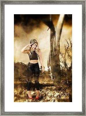 Tough Australian Pin-up Girl. Spirit Of The Anzac Framed Print by Jorgo Photography - Wall Art Gallery