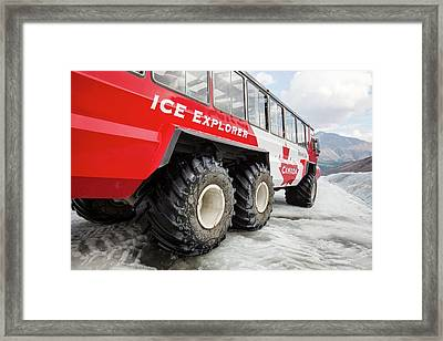 Tourist Ice Buggies On Athabasca Glacier Framed Print