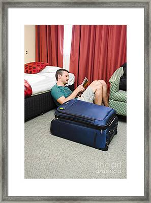 Tourist Planning Travel Tour In Hotel Room Framed Print by Jorgo Photography - Wall Art Gallery
